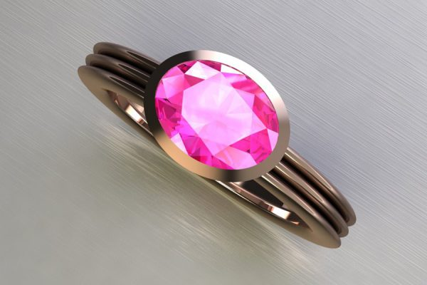 Oval Cut Pink Sapphire Red Gold Ring Design by Robert Feather Jewellery