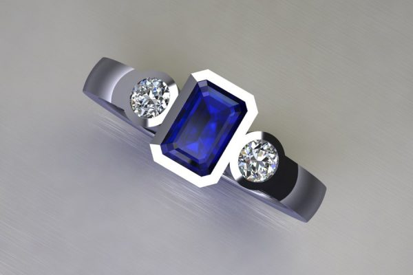 Three Stone Emerald Cut Sapphire & Round Brilliant Cut Diamond Platinum Ring Design by Robert Feather Jewellery