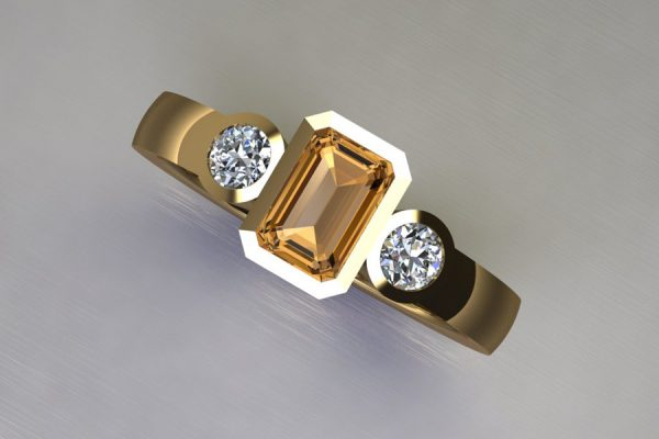 Three Stone Emerald Cut Orange Sapphire & Round Brilliant Cut Diamond Yellow Gold Ring Design by Robert Feather Jewellery