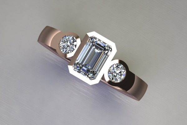 Three Stone Emerald Cut & Round Brilliant Cut Diamond Red Gold Ring Design by Robert Feather Jewellery