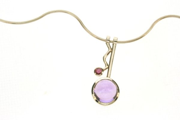 Wiggle Design Amethyst & Garnet Silver Necklace by Robert Feather Jewellery