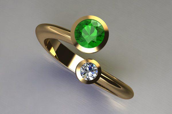 Two Stone Tsavorite & Round Brilliant Cut Diamond Yellow Gold Ring Design by Robert Feather Jewellery