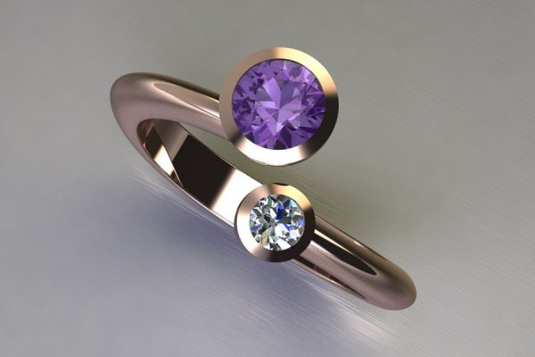 Two Stone Purple Sapphire & Round Brilliant Cut Diamond Red Gold Ring Design by Robert Feather Jewellery