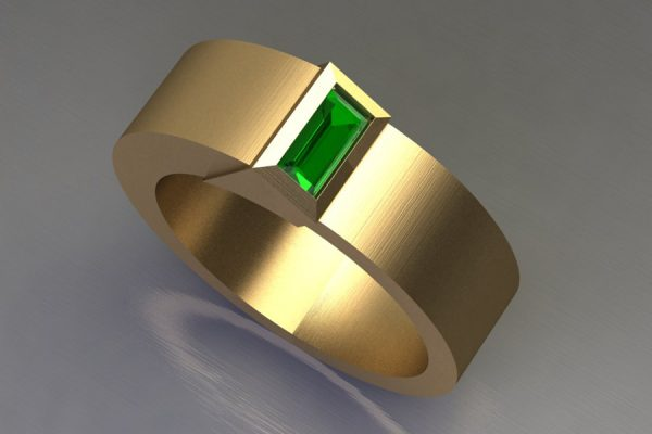 Baguette Cut Tsavorite 18ct Yellow Gold Ring Design by Robert Feather Jeweller