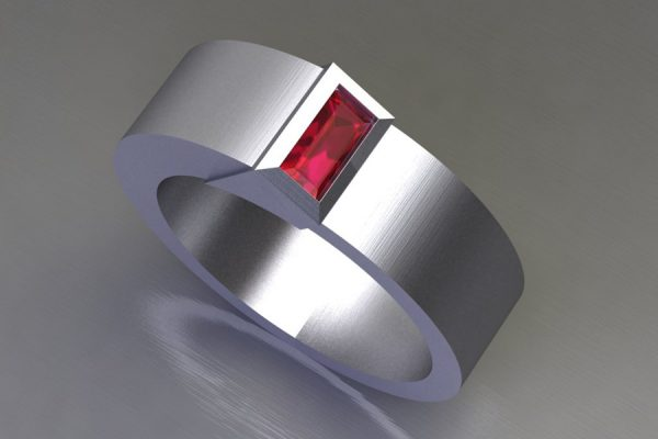 Baguette Cut Ruby White Gold Ring Design by Robert Feather Jeweller