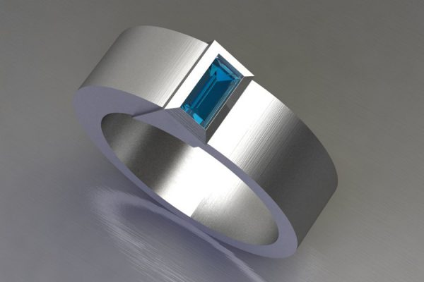 Baguette Cut Blue Topaz Silver Ring Design by Robert Feather Jeweller