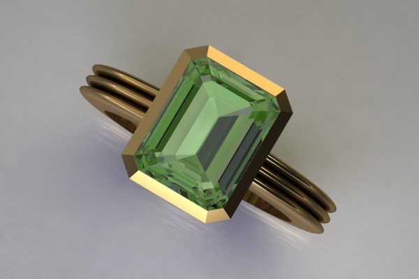 Emerald Cut Green Tourmaline 18ct Yellow Gold Ring Design by Robert Feather Jewellery