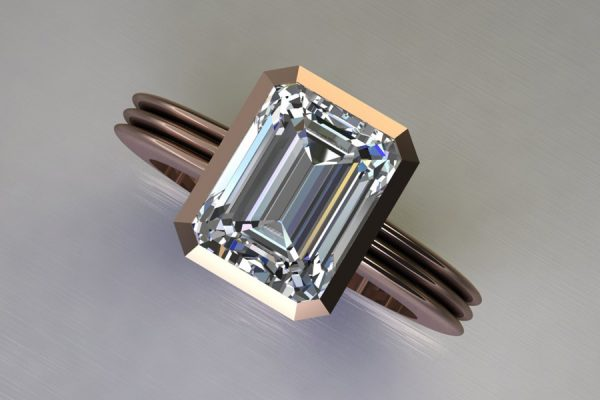 Emerald Cut Diamond 18ct Red Gold Ring Design by Robert Feather Jewellery