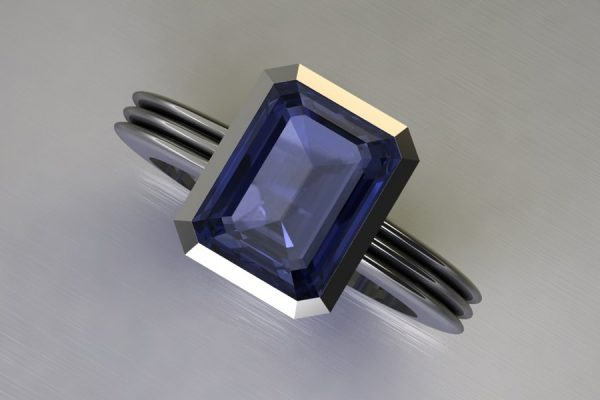 Emerald Cut Iolite Silver Ring Design by Robert Feather Jewellery