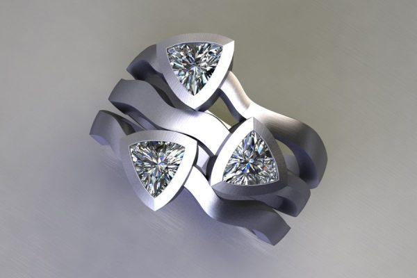 Three Stone Trillion Cut Diamond Platinum Ring Design by Robert Feather Jewellery