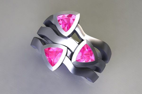 Three Stone Trillion Cut Pink Sapphire Platinum Ring Design by Robert Feather Jewellery