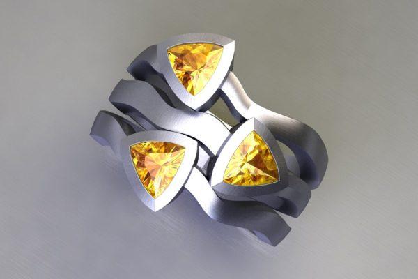 Three Stone Trillion Cut Yellow Sapphire Platinum Ring Design by Robert Feather Jewellery