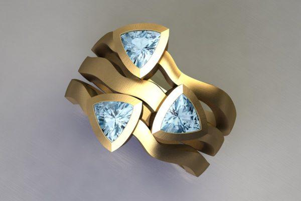 Three Stone Trillion Cut Aquamarine 18ct Yellow Gold Ring Design by Robert Feather Jewellery