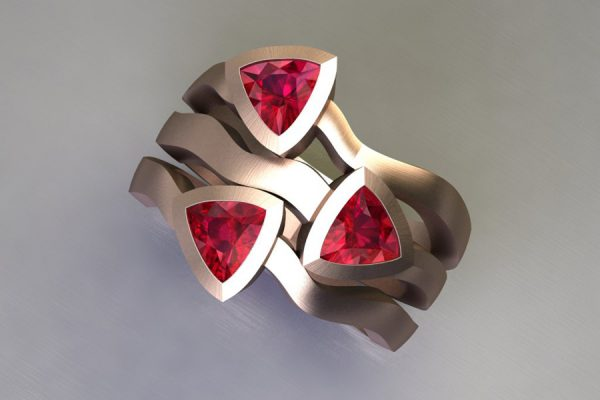 Three Stone Trillion Cut Ruby 18ct Red Gold Ring Design by Robert Feather Jewellery