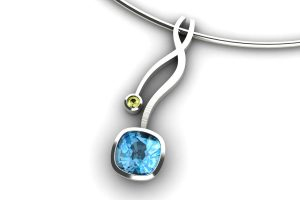 Weave Design Cushion Cut Blue Topaz & Yellow Sapphire 18ct White Gold Necklace by Robert Feather Jewellery