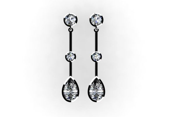 Diamond Platinum Earring Design by Robert Feather Jewellery