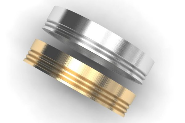 Groove Patterned Platinum & 18ct Gold Wedding Rings by Robert Feather Jewellery