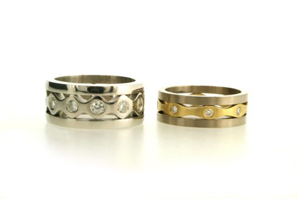 Diamond Platinum & 18ct Gold Stacking Rings by Robert Feather Jewellery