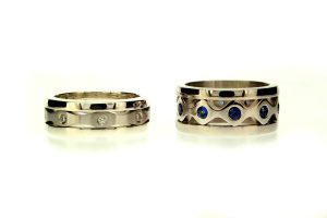 Diamond Platinum & Sapphire 18ct Gold Stacking Rings : Robert Feather Jewellery