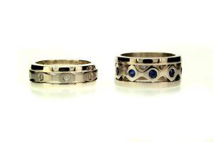 Diamond Platinum & Sapphire 18ct Gold Stacking Rings : Robert Feather Jewellery