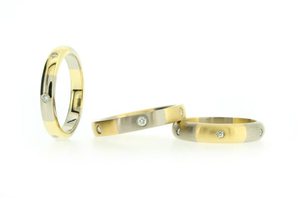 Diamond Set Two Coloured 18ct Yellow & White Gold Rings by Robert Feather Jewellery