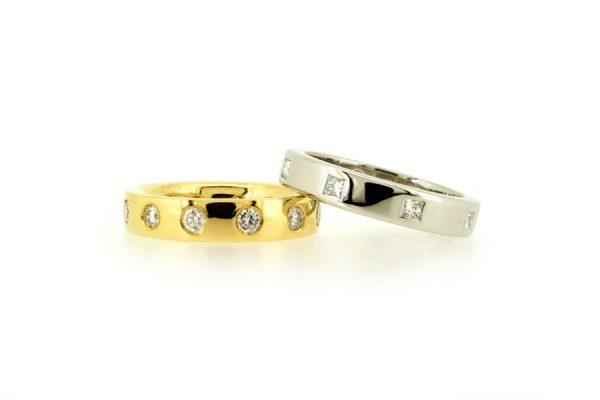 Princess Cut & Round Diamond Set 18ct Gold & Platinum Rings by Robert Feather Jewellery