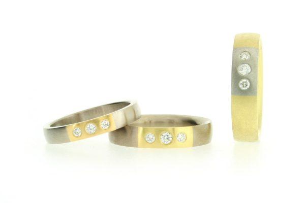 Diamond Set 18ct Gold & Platinum Three Stone Rings by Robert Feather Jewellery