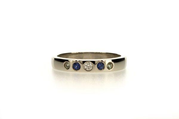Diamond & Sapphire Set Platinum Ring by Robert Feather Jewellery