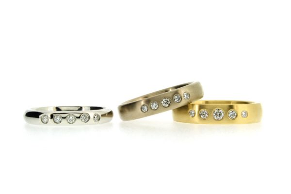 Five Stone Diamond Set Platinum & 18ct Gold Rings by Robert Feather Jewellery