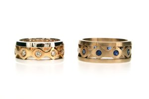 Diamond & Sapphire 18ct Gold Stacking Rings : Robert Feather Jewellery