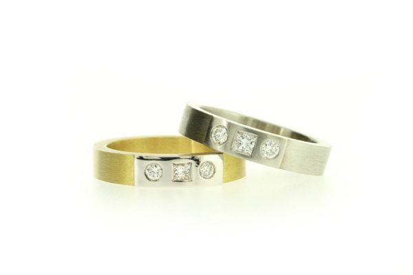 Three Stone Diamond Set Gold & Platinum Rings by Robert Feather Jewellery