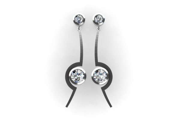 Cup Design Diamond Platinum Earrings by Robert Feather Jewellery