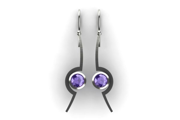 Cup Design Tanzanite 18ct White Gold Earrings by Robert Feather Jewellery