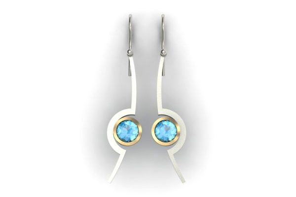 Cup Design Aquamarine Silver & Gold Earrings by Robert Feather Jewellery