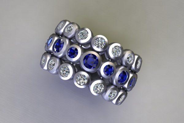 Sapphire & Diamond Platinum Ring Design by Robert Feather Jewellery