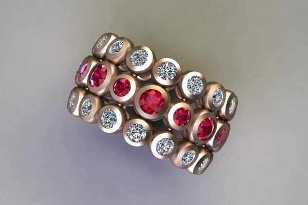 Ruby & Diamond 18ct Red Gold Ring Design by Robert Feather Jewellery