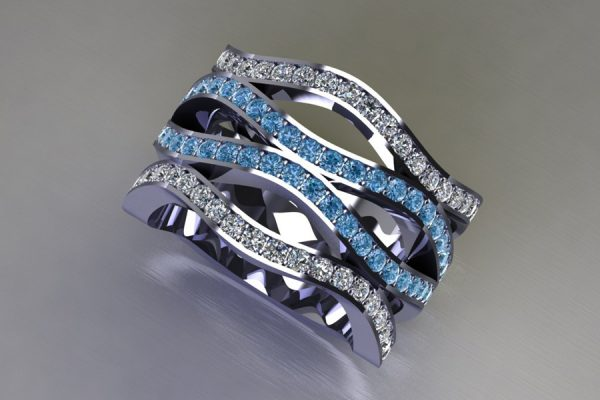 Blue & White Diamond Set Platinum Ring Design by Robert Feather Jewellery