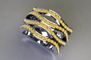 Yellow Diamond Set 18ct White Gold Ring Design by Robert Feather Jewellery