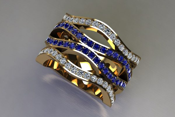 Sapphire & Diamond Set 18ct Yellow Gold Ring Design by Robert Feather Jewellery