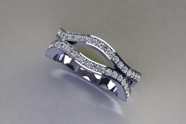 Harmonic Wave Diamond Set Platinum Ring Design by Robert Feather Jewellery