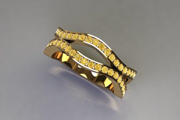 Harmonic Wave Yellow Diamond 18ct Gold Ring Design by Robert Feather Jewellery