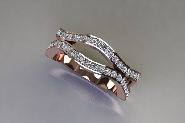 Harmonic Wave Diamond 18ct Red Gold Ring Design by Robert Feather Jewellery