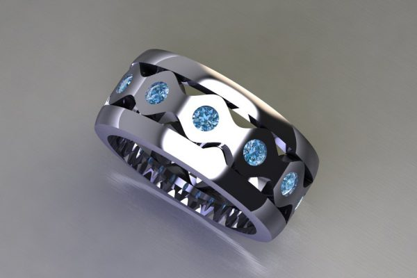 Blue Diamond Set Platinum Stacking Ring Design by Robert Feather Jewellery