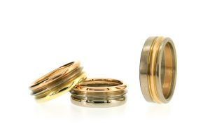 Multi Band Coloured 18ct Gold Wedding Rings by Robert Feather Jewellery