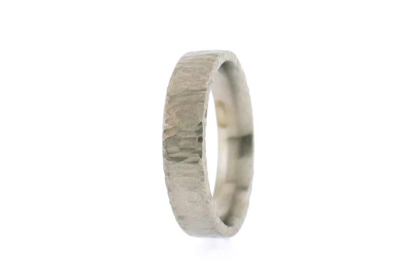Comfort Fit Platinum Wedding Ring with Hammered Finish by Robert Feather Jewellery