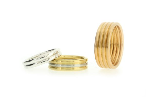 Multi Band Platinum & Gold Wedding Rings by Robert Feather Jewellery