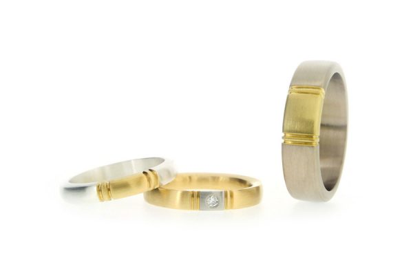 Multi Coloured Silver & 18ct Gold Wedding Rings by Robert Feather Jewellery