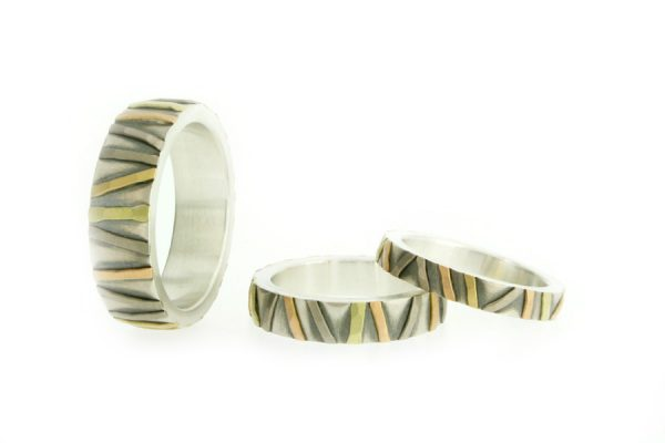 Multi Coloured Striped Patterned Silver & 18ct Gold Rings by Robert Feather Jewellery