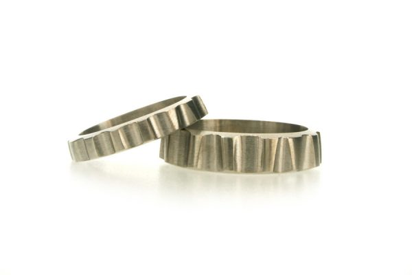 Hollow Shaped Platinum Wedding Rings by Robert Feather Jewellery