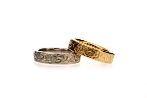 Burred Patterned Platinum & 18ct Gold Wedding Rings by Robert Feather Jewellery
